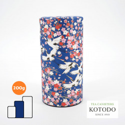 Caja de té japonesa de papel washi, WASHI Collection, grullas y flores