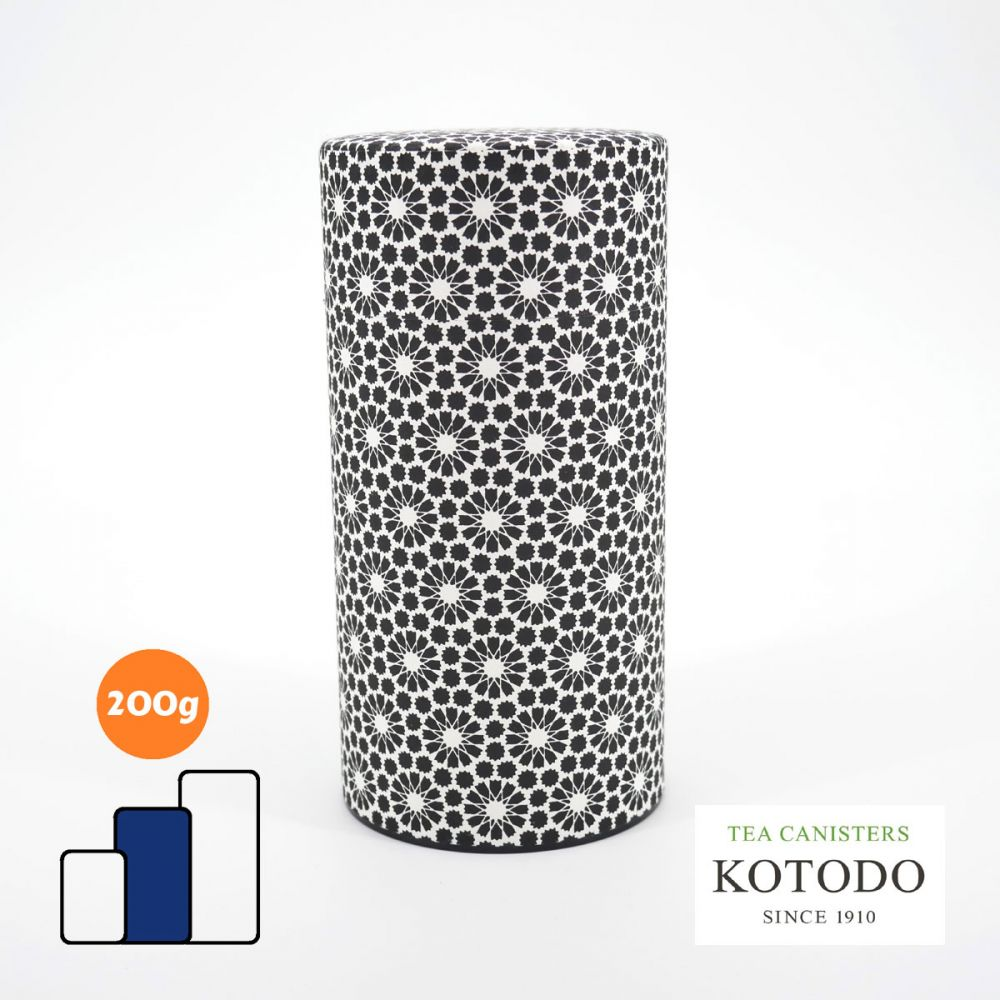 Japanese tea canister Washi design Collection black paper chrysanthemum