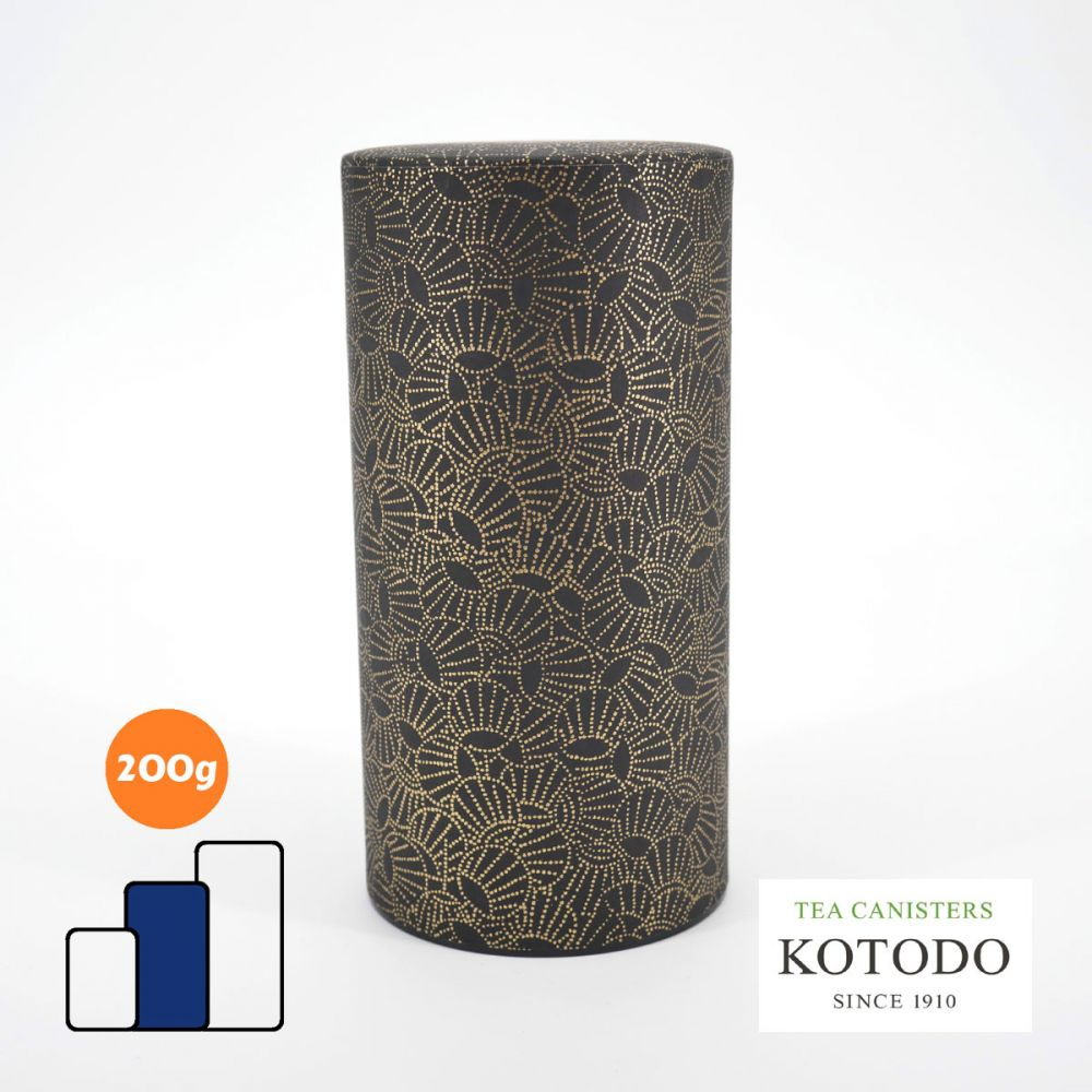 Japanese tea canister Washi design Collection black paper golden shells