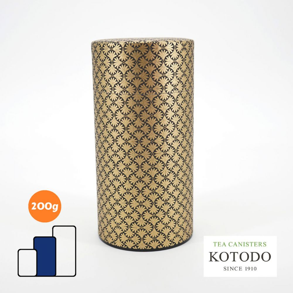 Japanese tea canister Washi design Collection black paper golden patterns