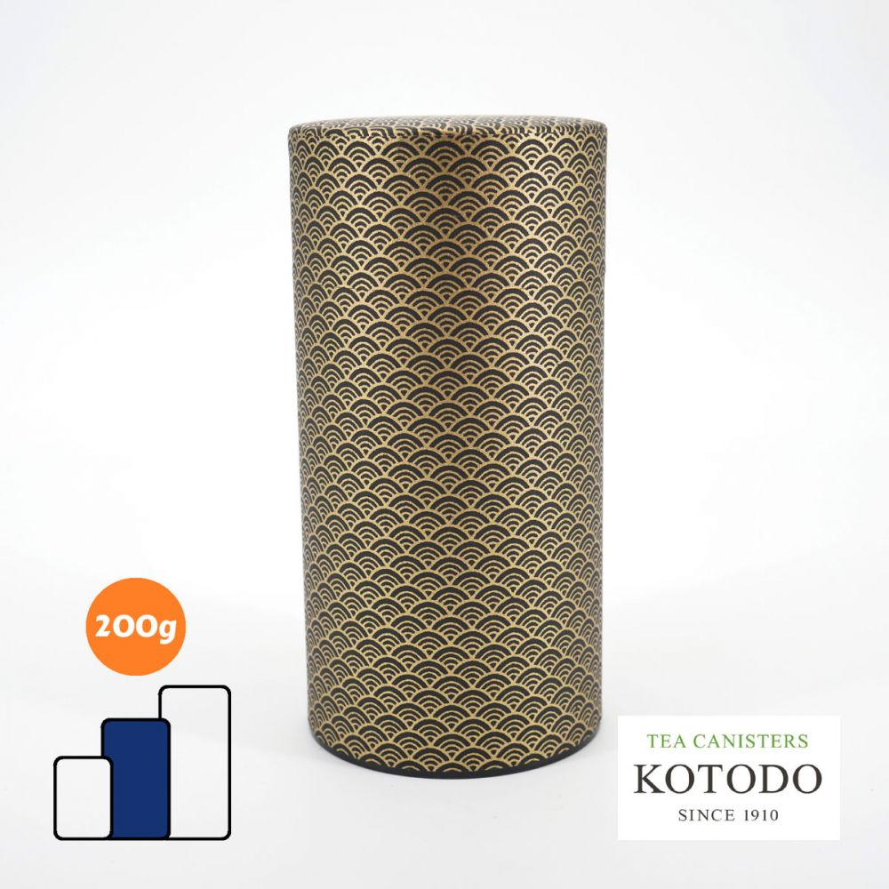 Japanese tea canister Washi design Collection black paper golden waves