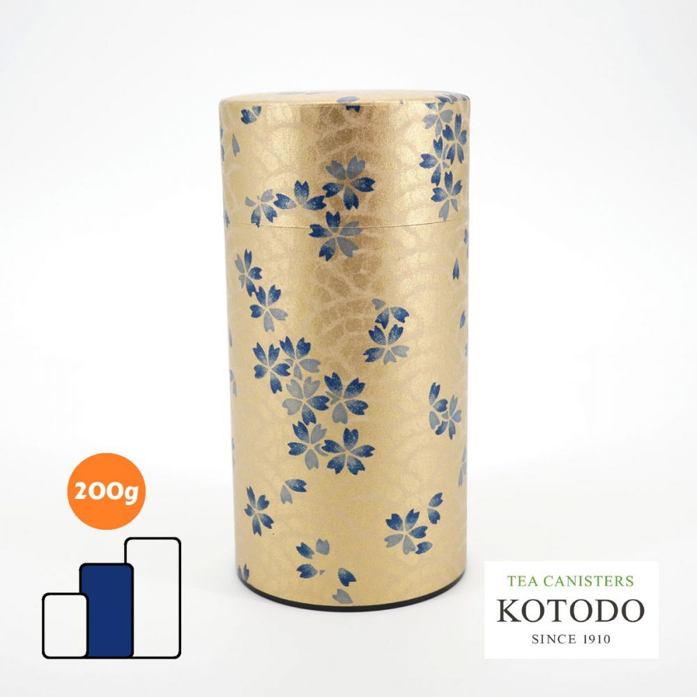 Japanese tea canister Washi design Collection golden paper sakura flowers