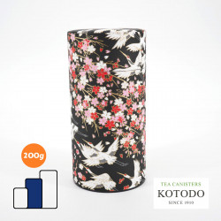 Japanese tea canister Washi design Collection black paper flowers and cranes