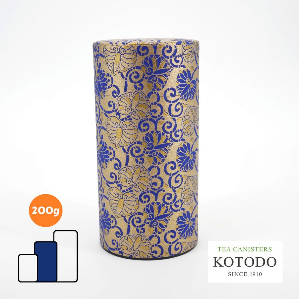Japanese tea canister Washi design Collection golden paper blue flowers