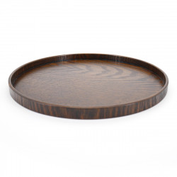 brown wooden round tray, MARUBON, brown