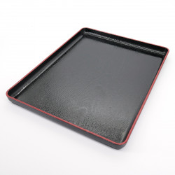 rectangular tray with adherent coating, DAIZU MOKUME BON, black
