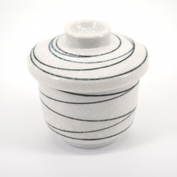 japanese black line white teacup with lid KOHIKI LINE