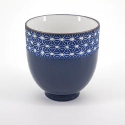 japanese deep blue teacup asanoha patterns SASHIKO RURI NATSUME