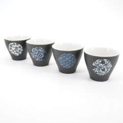japanese black 4 cups set with circle SHUKI KURO MARUMON MARUCHI