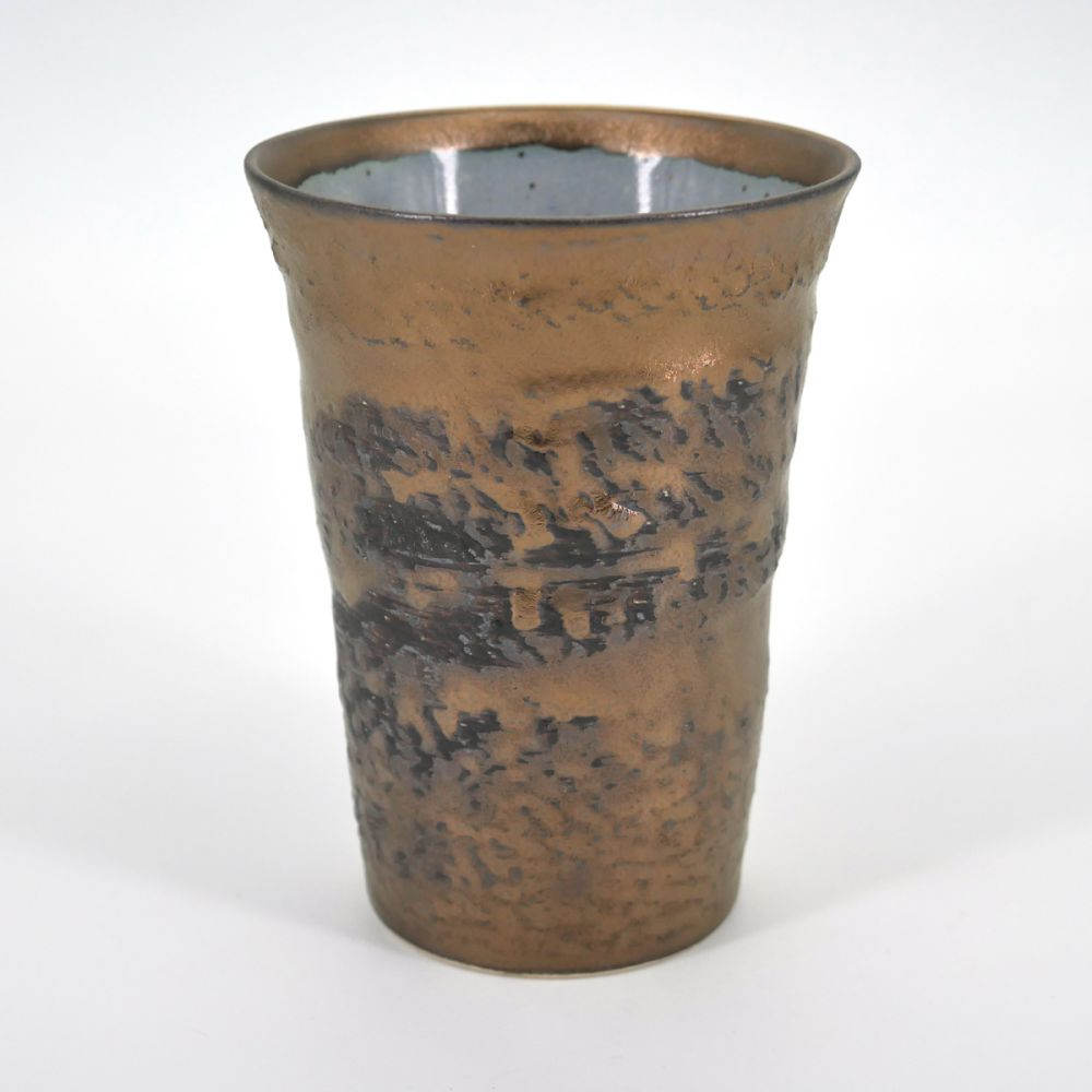 japanese golden tall cup H11,1cm in ceramic GOLD