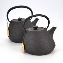japanese wide cast iron teapot, CHÛSHIN KÔBÔ SHIYAEN, Brown
