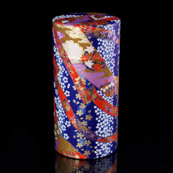 Japanese tea box made of washi paper, RUBANS, blue