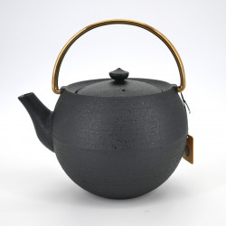 Japanese prestige round cast iron teapot with copper handle, CHÛSHIN KÔBÔ MARUTAMA, black