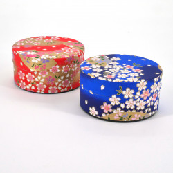 Japanese tea box made of washi paper, SAKURA, Red and blue
