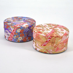 Japanese tea box made of washi paper, MONTS, purple and pink