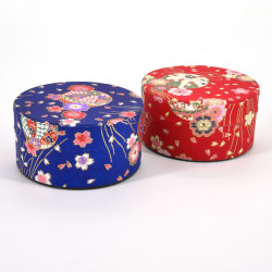 Japanese flat blue or red tea caddy in washi paper, YUZEN TAMA, 40 g