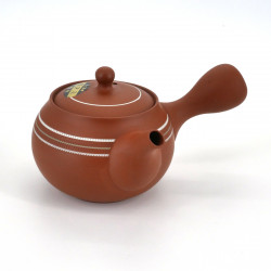 japanese kyusu teapot earth Tokoname, SHUNJÛ, red, white lines