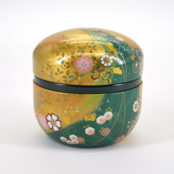 Japanese metal tea box, SUZUKO HANAFUBUKI, green and golden