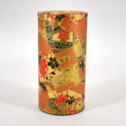Japanese tea box made of washi paper, KOGANE, red and gold