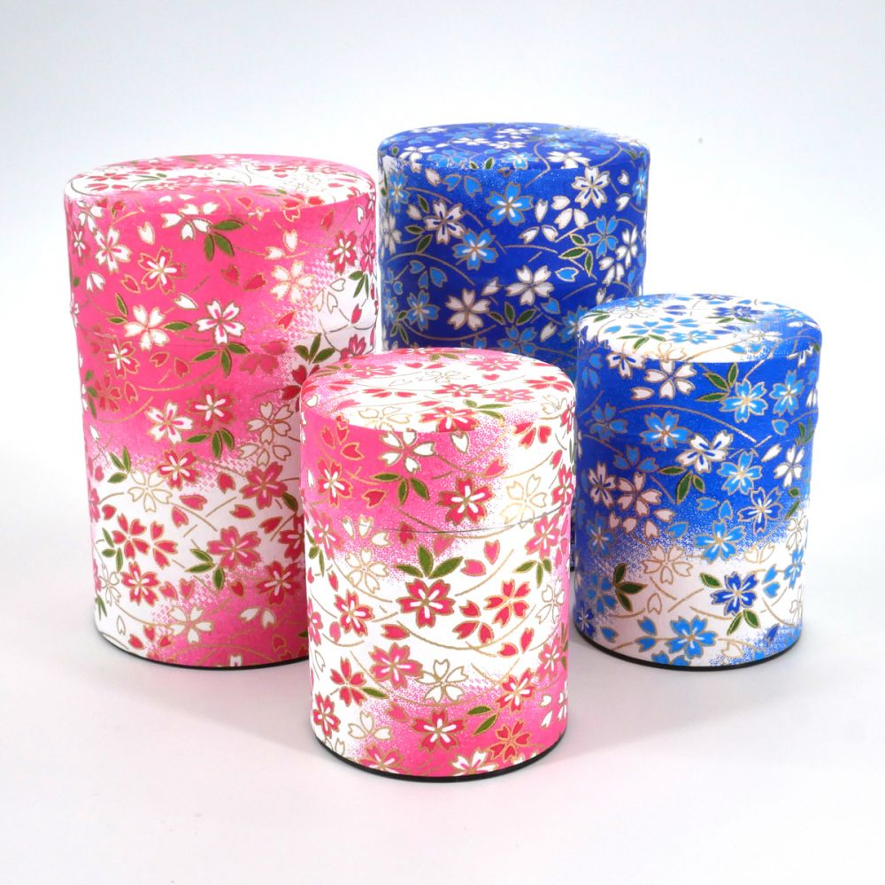 Japanese tea box washi paper 40g 100g pink blue choice