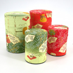 Japanese tea box made of washi paper, CEREMONIE, green and orange