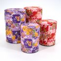 Japanese tea box made of washi paper, DAMIER, purple and red