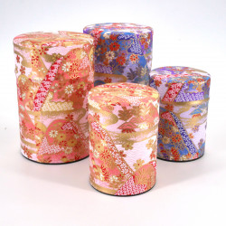 Japanese tea box made of washi paper, MONTS, pink and purple