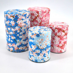 Japanese tea box made of washi paper, FLEURS, blue and pink
