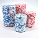 Japanese tea box made of washi paper, UME, blue and pink