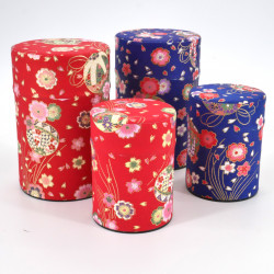 Blue or red Japanese tea box in washi paper, YUZEN TAMA, 40 g or 100 g