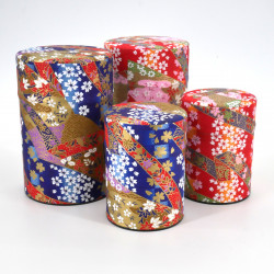 Blue or red Japanese tea box in washi paper, YUZEN RIBON, 40 g or 100 g