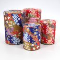 Japanese tea box made of washi paper, KAWA, Red and blue