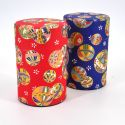 Japanese tea box made of washi paper, MARU, Red and blue