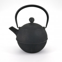 round cast iron teapot from Japan, OIHARU TEMARI 0,5lt, black