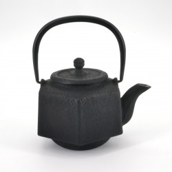 Japan cast iron hexagon teapot, OIHARU ROKKAKU RIKYÛ 0,5lt, black