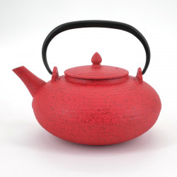 Red japanese cast iron teapot wazuqu ITOME 0.7lt
