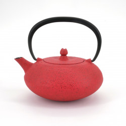 Japanese teapot cast iron, WAZUQU SHIBO 0.35 lt, red