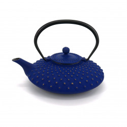 Japanese teapot cast iron, IWACHU KAMBIN 0,750lt, blue / gold