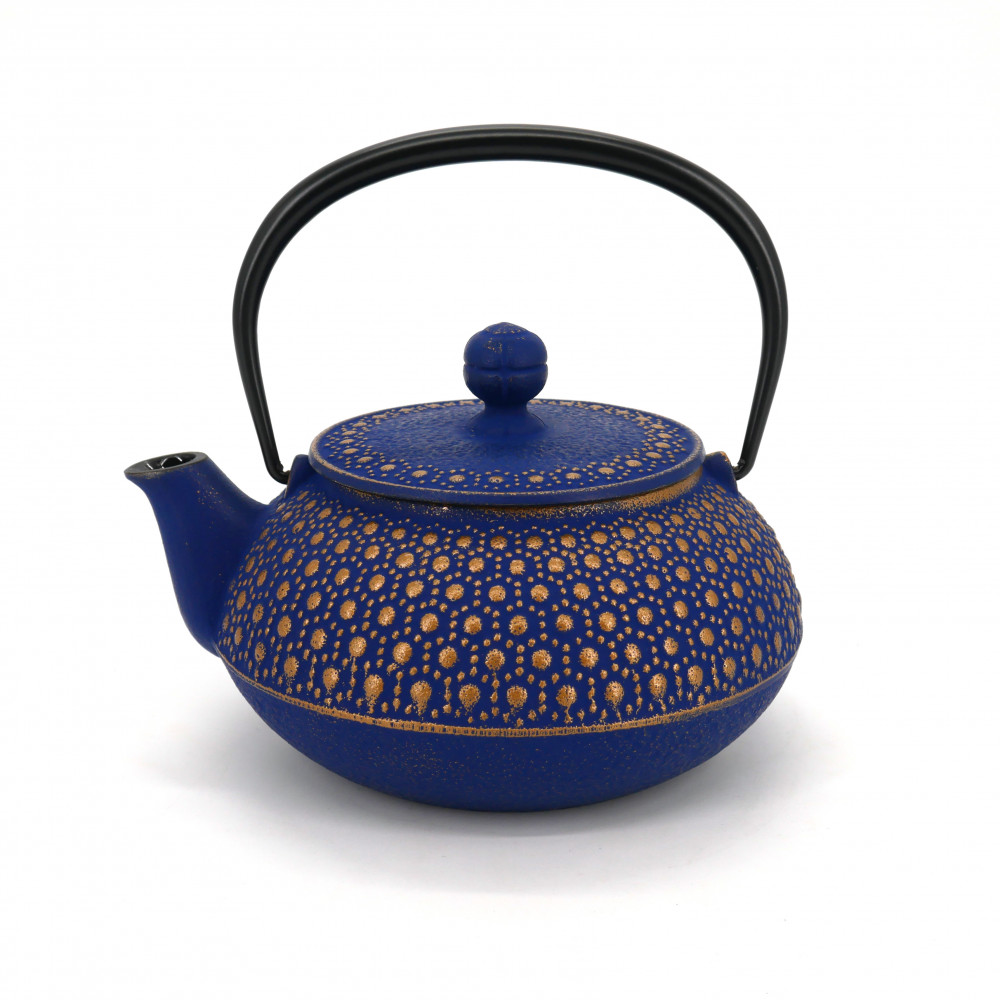 Japanese teapot cast iron, IWACHU KIKKO 0,55lt, navy blue gold