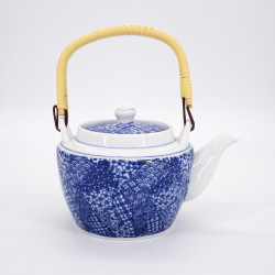 japanese blue teapot in ceramic with handle patchwork GOJO