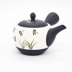 japanese white kyusu teapot tokoname in terracotta dragonflies TOMBO