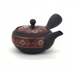 japanese red and black kyusu teapot tokoname in terracotta SHUKOKU
