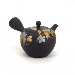 japanese black kyusu teapot in terracotta tokoname golden patterns KINKURO