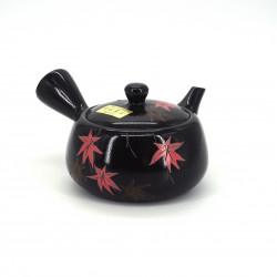 japanese black kyusu teapot tokoname autumn leaves MOMIJI