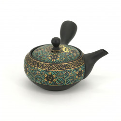 japanese green and black kyusu teapot in terracotta tokoname KIKUKARAKUSA KURODORO