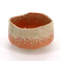 Japanese tea bowl for ceremony - chawan, HAIUWAGUSURI, orange