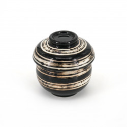 Japanese black tea cup with lid in ceramic SHIROHAKEME white brush