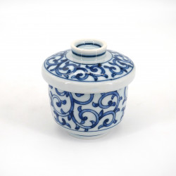 Japanese white tea cup with lid in ceramic KARAKUSA blue patterns