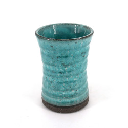 Japanese large cup 11.5 cm blue turquoise ORIBE in ceramic