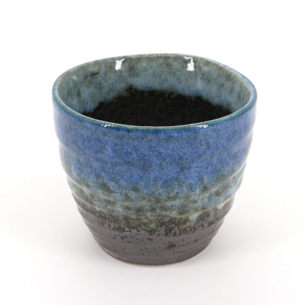 japanese black and blue teacup in ceramic MORINO